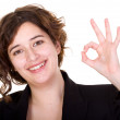 Business woman doing an ok sign — Stock Photo