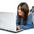 Casual girl on a laptop — Stock Photo #7754160