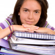 Casual female student with notebooks — Stock Photo