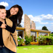 Young couple having fun at home - Stock Photo