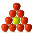 Stockfoto: Red apples on pyramid shape - be different