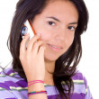 Beautiful female student on the phone — Stock Photo