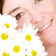 Beautiful girl portrait with flowers - Foto de Stock