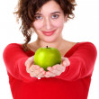 Girl holding green apple - diet series — Foto Stock #7754335