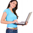 Casual girl with a laptop — Stock Photo #7754368