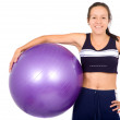 Stock Photo: Fit girl with pilates ball