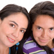 Beautiful sisters over white — Stock Photo