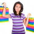 Casual teenager with shopping bags — Stock Photo