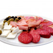 Various meat cheese and olives — Stock Photo