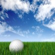 Golf ball on grass and blue sky - Stock Photo