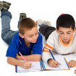 Kids drawing on a notebook — Stockfoto #7754523