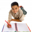 Stock Photo: School student doing his homework