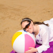 Girl with a beach ball — Stock Photo