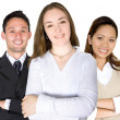 Confident business woman and her team — Stock Photo