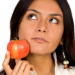 Apple girl - full of thoughts — Stockfoto #7754574