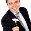 Business man offering a flower — Stock Photo