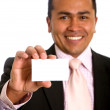 Business man showing a card — Stock Photo