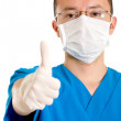 Male surgeon with thumbs up — ストック写真