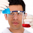 Chemist with a formula — Stock Photo