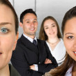 Stock Photo: Business female partners with their team
