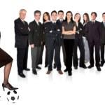 säker asiatiska affärskvinna med en verksamhet team bakom — Stockfoto
