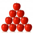 Red apples on a pyramid shape — Stok fotoğraf