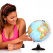 Woman with a globe — Stock Photo