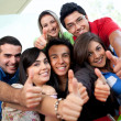 Foto Stock: Students with thumbs up