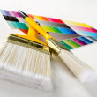 Stock Photo: Paint brushes with color guide
