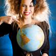 Woman with a globe — Stock Photo #7756180
