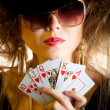 Stylish poker player — Stok fotoğraf