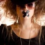 tystade kvinna — Stockfoto