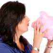 Woman cherishing her savings — Stock Photo