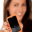 Stock Photo: Womwith mobile phone
