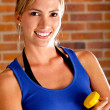 Woman with free-weights — Stock Photo