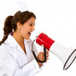 Female nurse shouting — Stock Photo