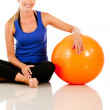 Stock Photo: Woman with pilates ball