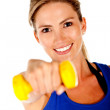 Woman with free-weights — Stock Photo #7756988