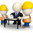 3D engineer with workers - Stock Photo