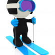 Stock Photo: 3D skier