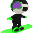 Stock Photo: 3D man snowboarding