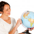 Woman with a globe — Lizenzfreies Foto