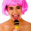 Eccentric woman singing — Stock Photo