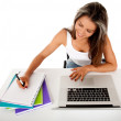 Female student with laptop — Stock Photo