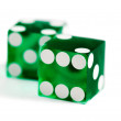 Green dice - Stock Photo