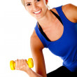 Woman with free-weights - Stockfoto