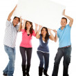 Group with a banner — Stock Photo #7757857