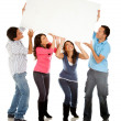Group with a banner — Stock Photo #7757858