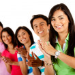 Group of happy applauding Ð isolated over a white background — Stock Photo #7758065