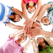 Team with hands together — Stock Photo